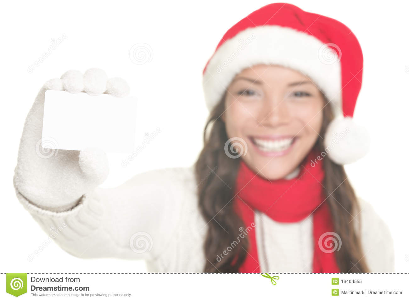 Christmas girl showing business card sign