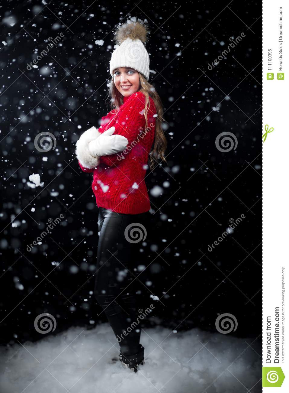 21d062e42e40 Christmas Girl Standing In Snow Stock Photo - Image of jacket ...