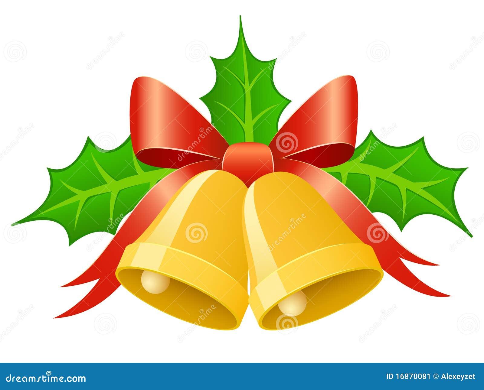 Christmas gold bells with ribbon bow and holly lea stock vector image 16870081 - Sobre de navidad para imprimir ...