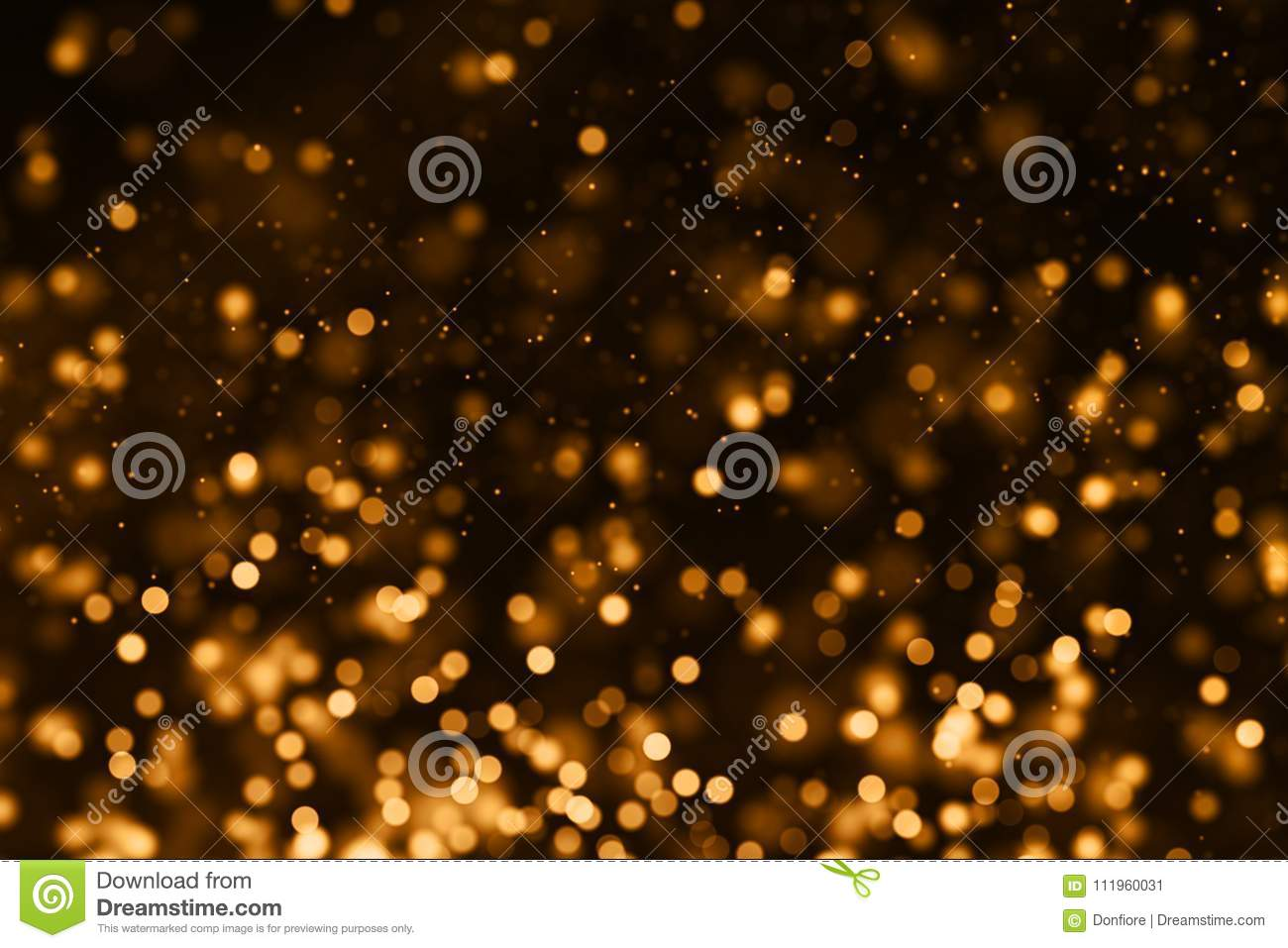 Christmas gold gradient sparkle glitter dust particles from top