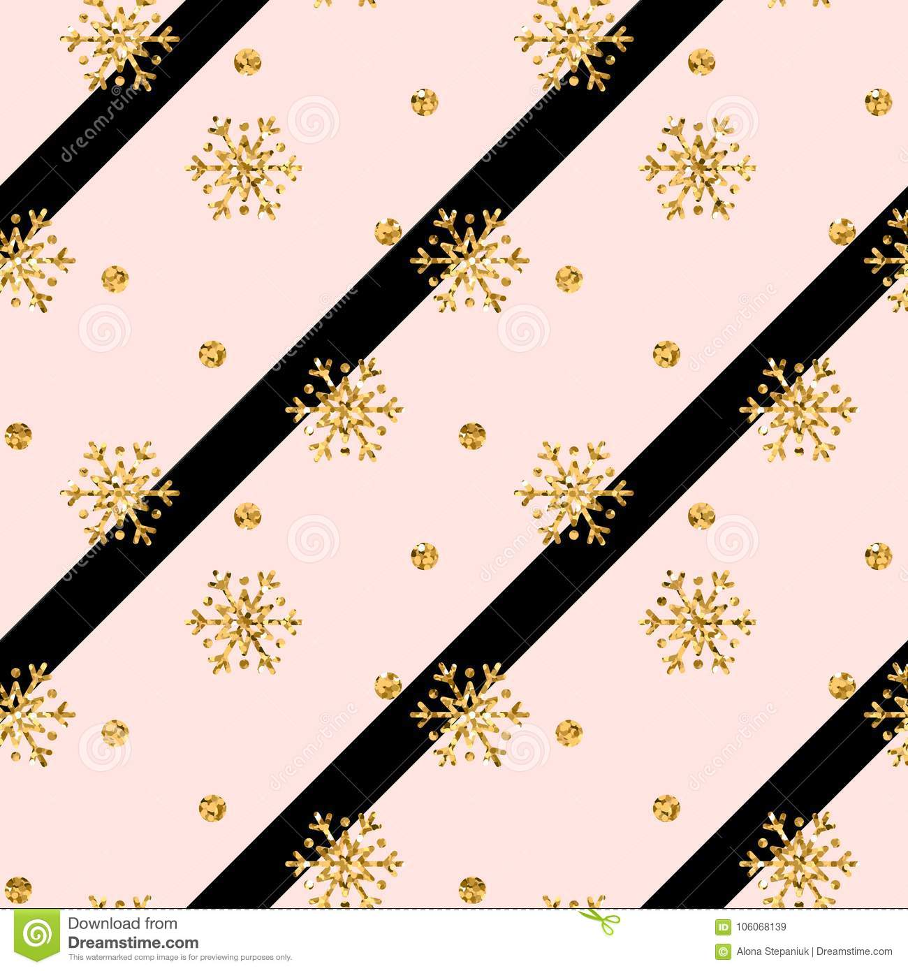 christmas gold snowflake seamless pattern golden glitter snowflakes on pink black diagonal lines background