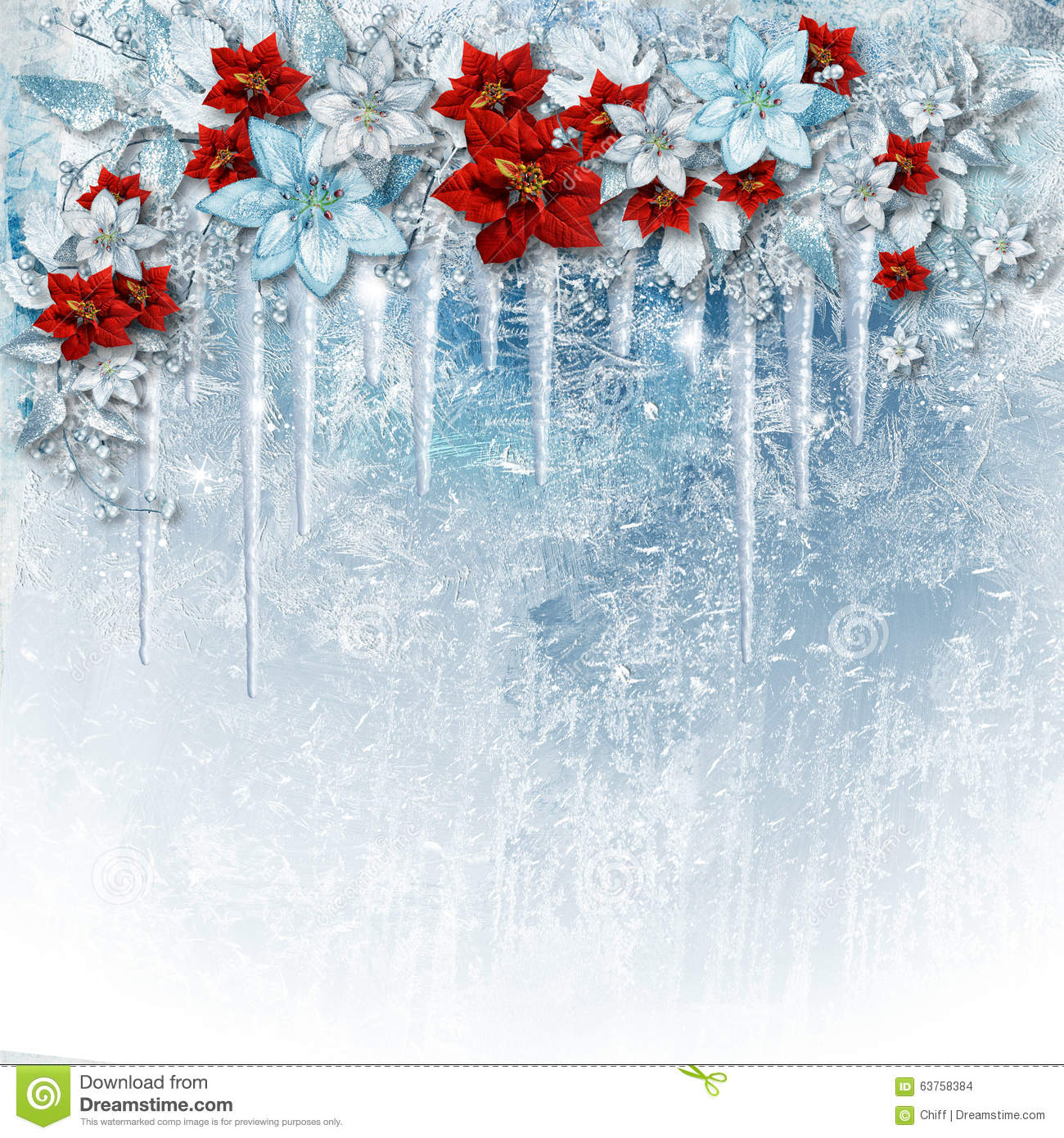 Christmas gorgeous flowers on ice background with icicles greet gorgeous christmas card with beautiful winter flowers iciclesand poinsettia with a copyspace on the background with patterns of frost izmirmasajfo