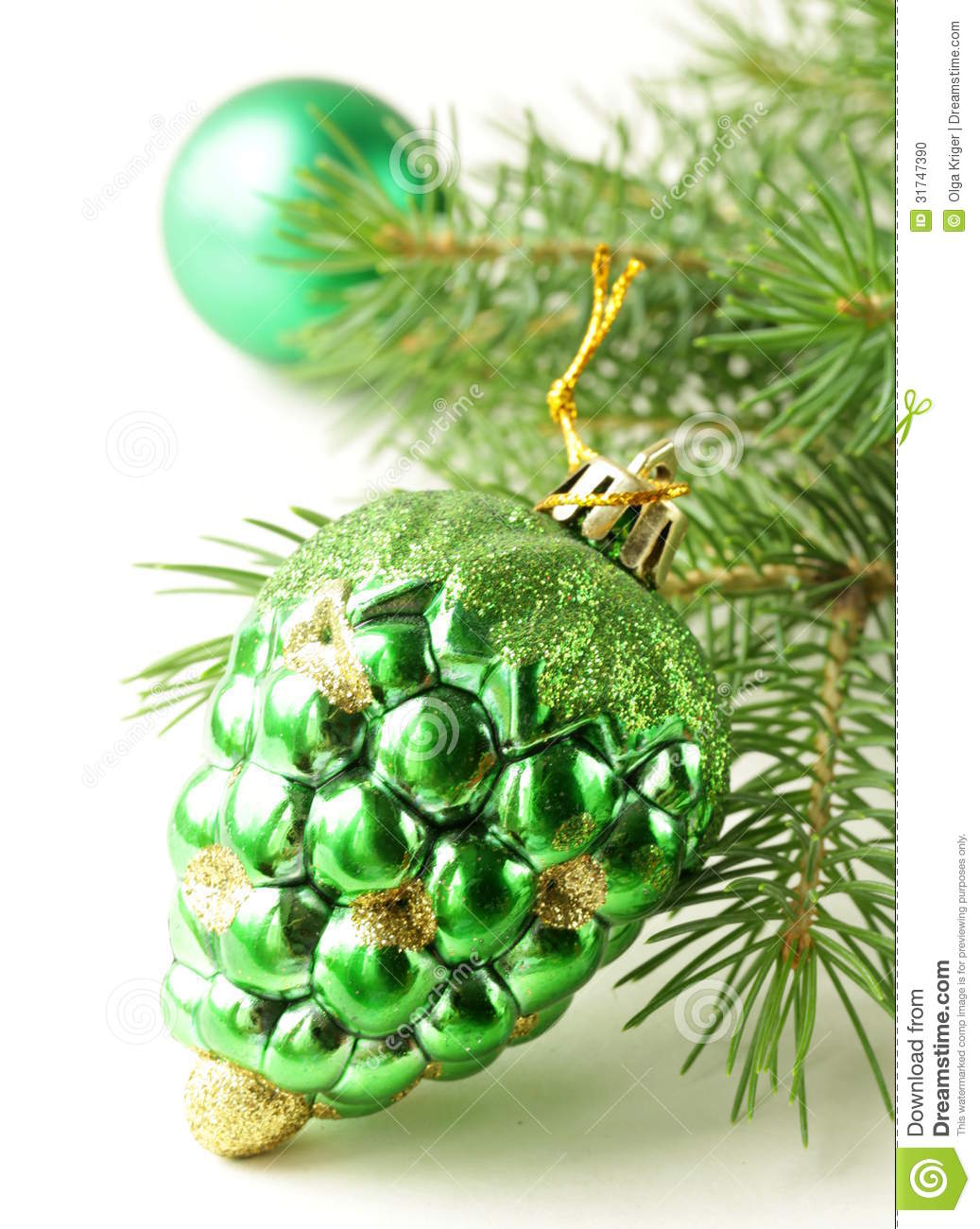 Christmas Green Fir Tree Branches With Decorations Stock Photo - Image of background, branch ...
