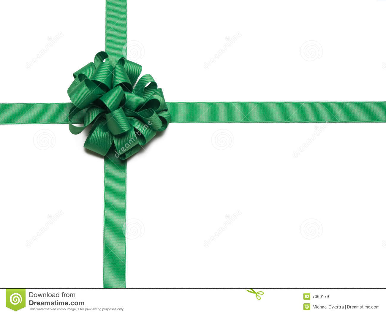 Green Christmas Bow Background Graphics: Christmas Green Ribbon And Bow Stock Image