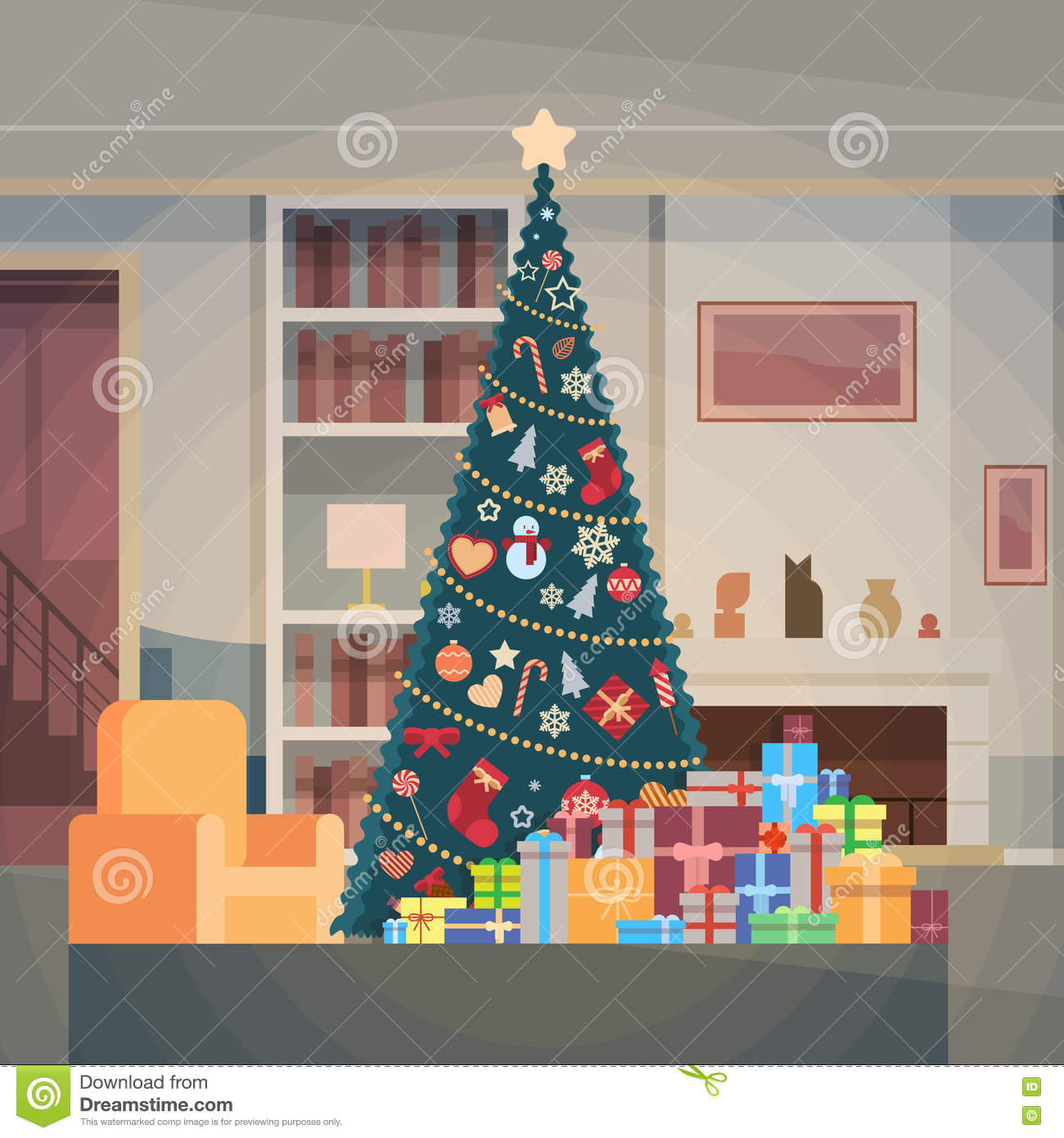 Christmas green tree with gift box house interior for Interior decoration for new year