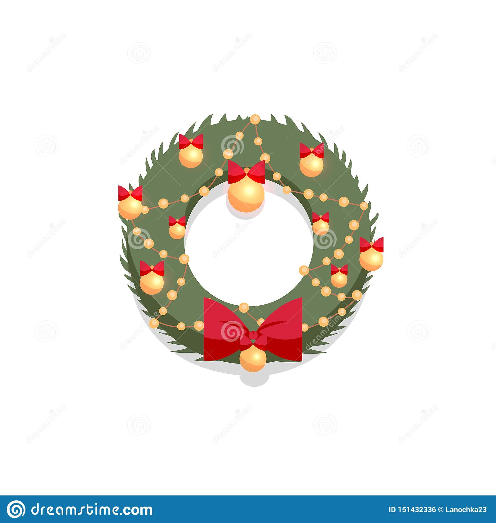 Christmas green wreath decorated by red bow and golden balls on a white background. Flat cartoon style vector illustration. New