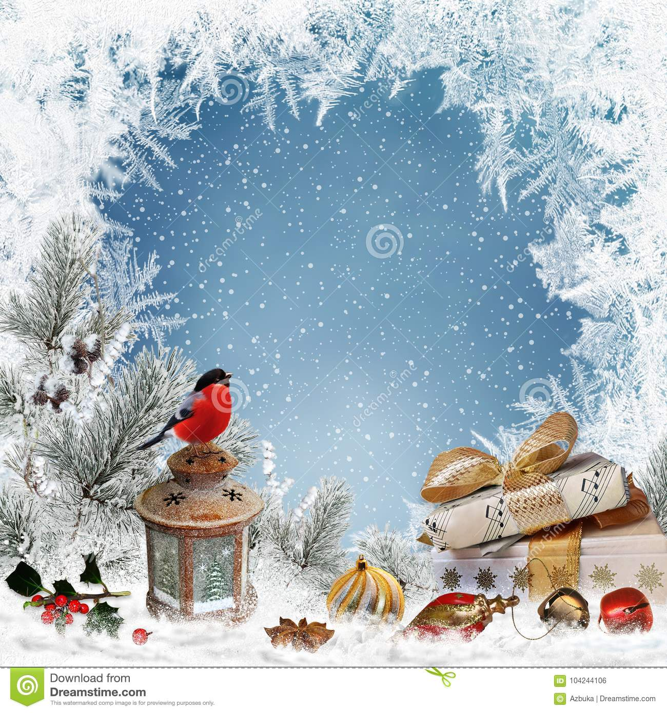 Christmas greeting background with place for text, gifts, bullfinch, lantern, christmas decorations, pine branches