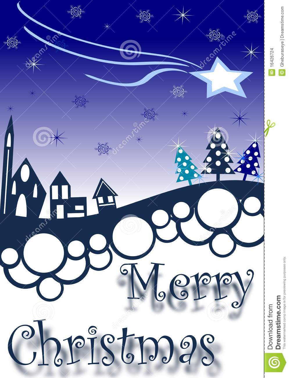Christmas greeting card with village in blue tones