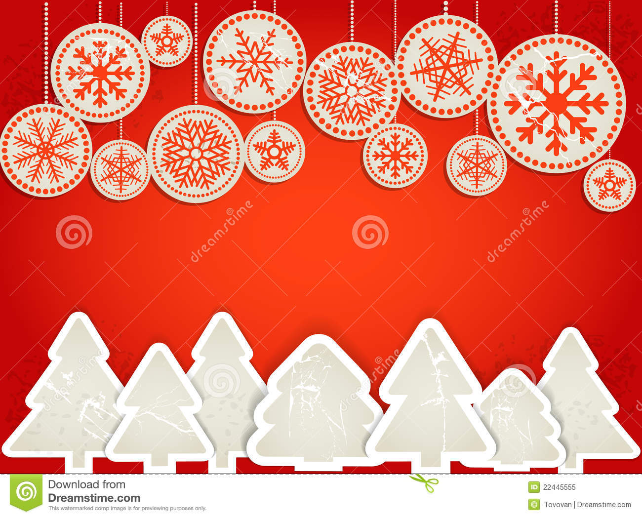 Christmas greeting card. Abstract paper toys