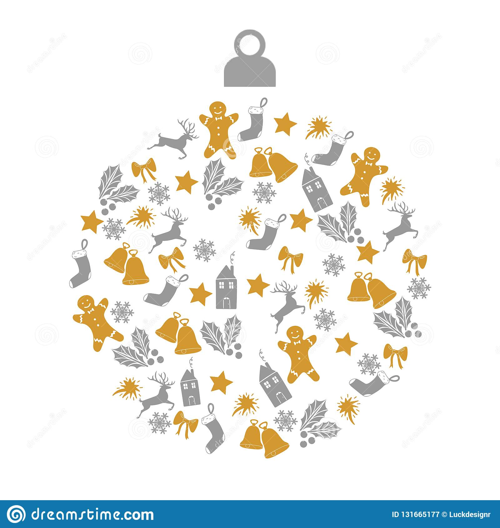 Christmas greeting card with christmas ball with gold and gray small decoration icons on white background