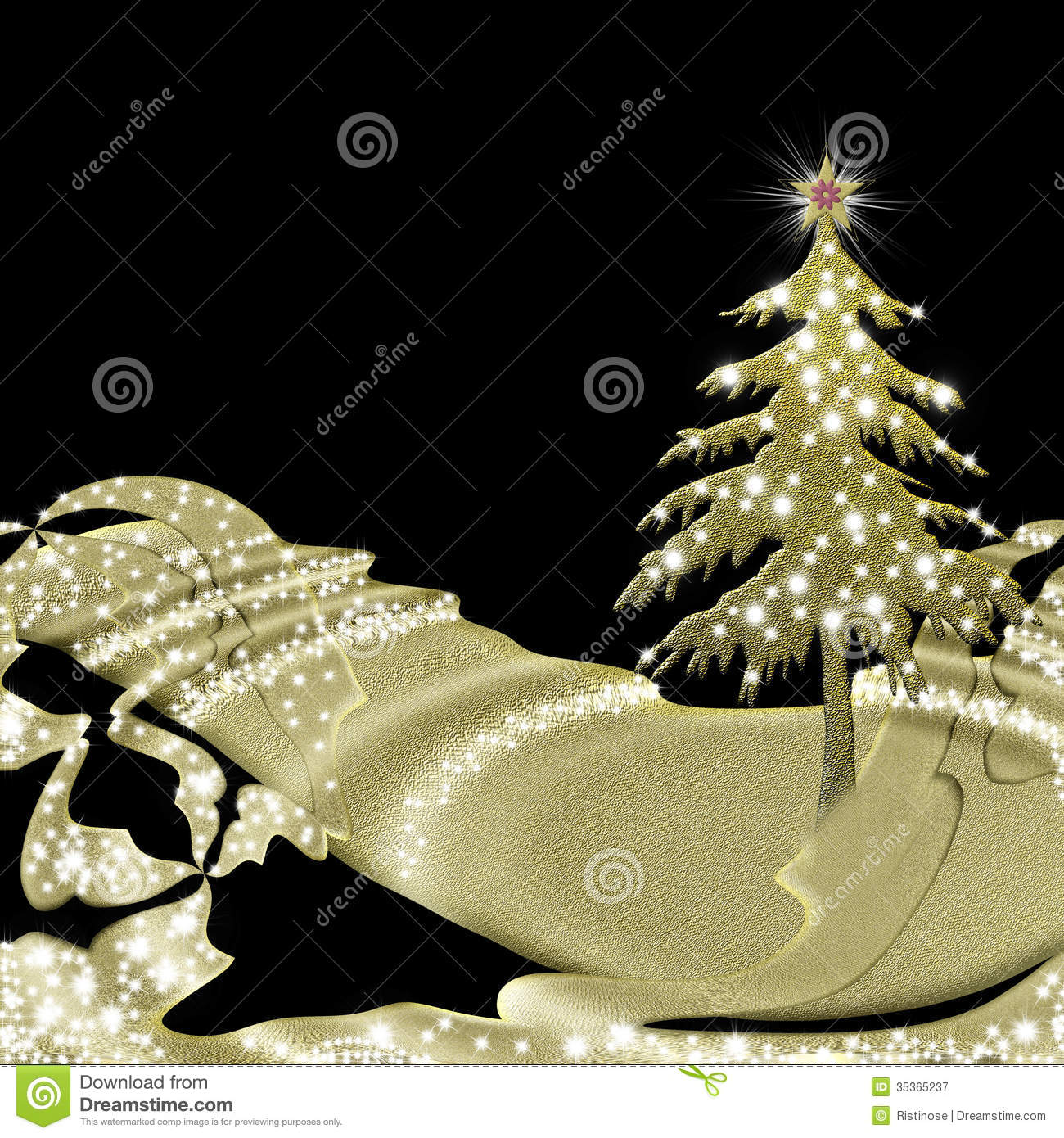 Christmas Greeting Card Black And Gold Stock Image Image