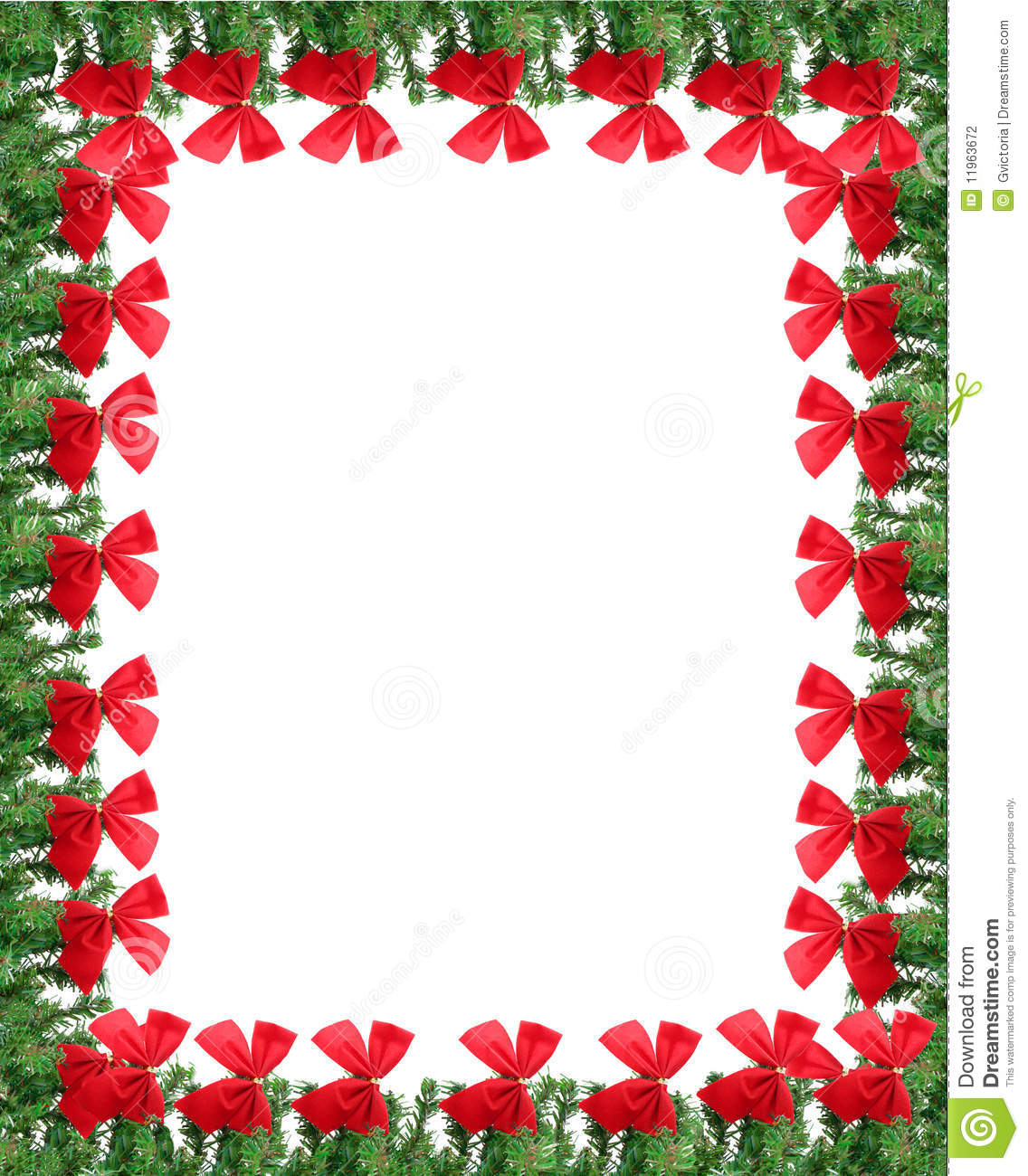 Christmas Card Border.Christmas Greeting Card Border Stock Photo Image Of Bows