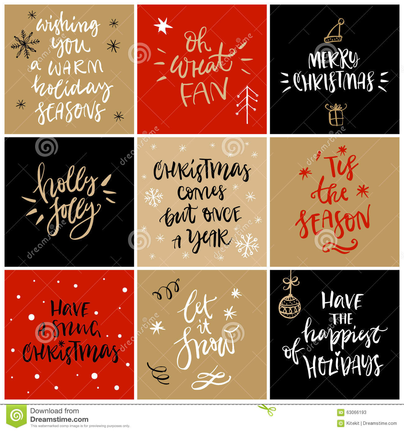 Christmas greeting card with calligraphy stock vector