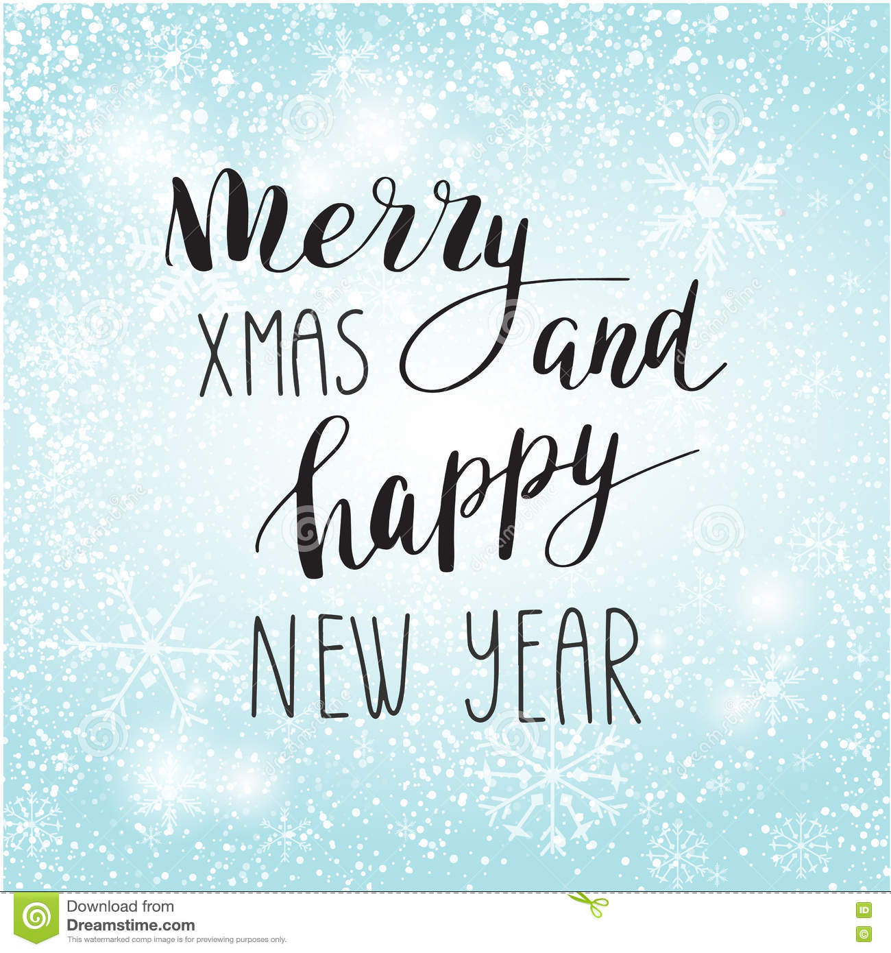 Christmas Greeting Card With Calligraphy Stock Illustration