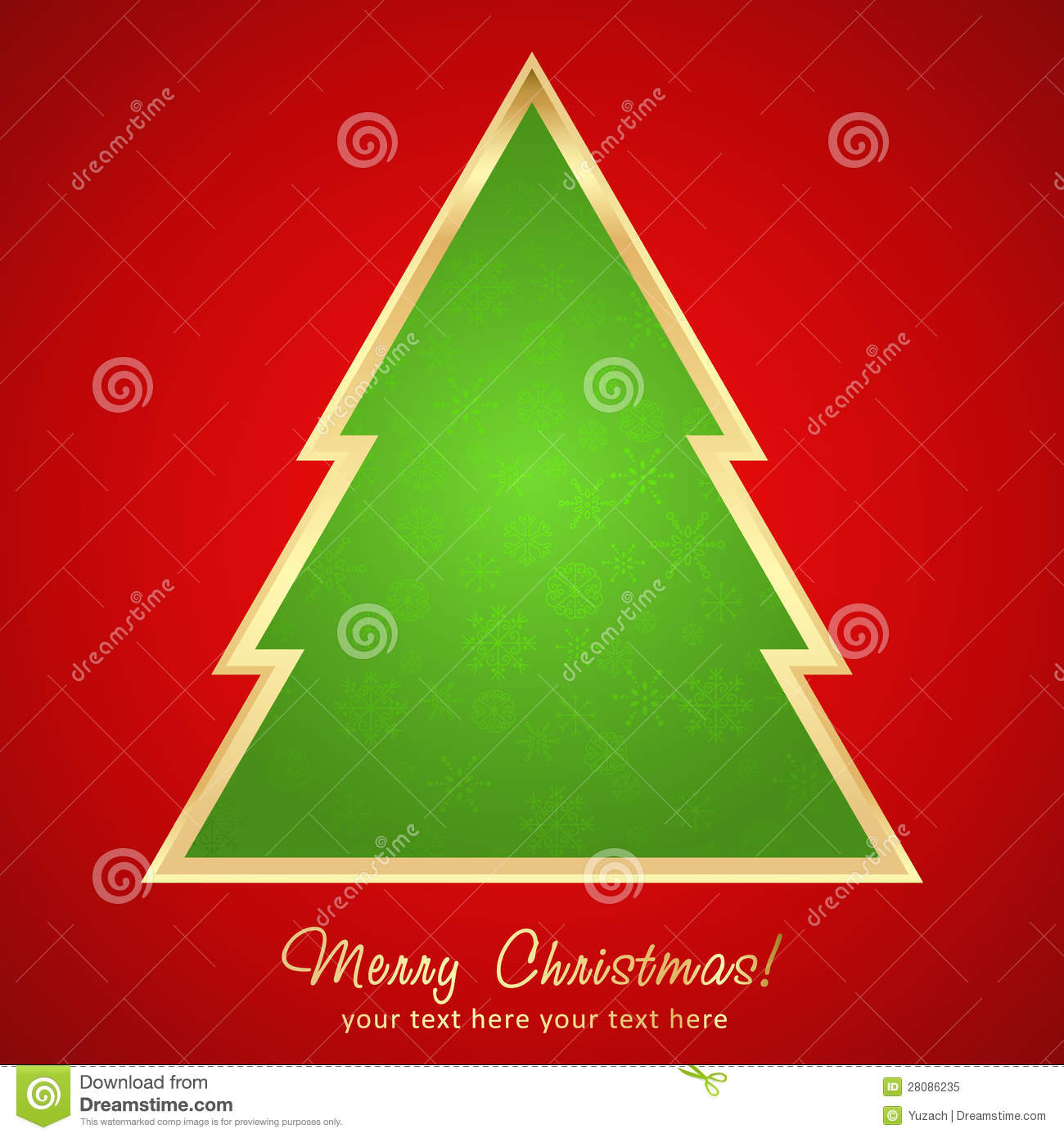 Christmas Greeting Card With Cartoon Tree Royalty Free Stock Photo - Image: 28086235