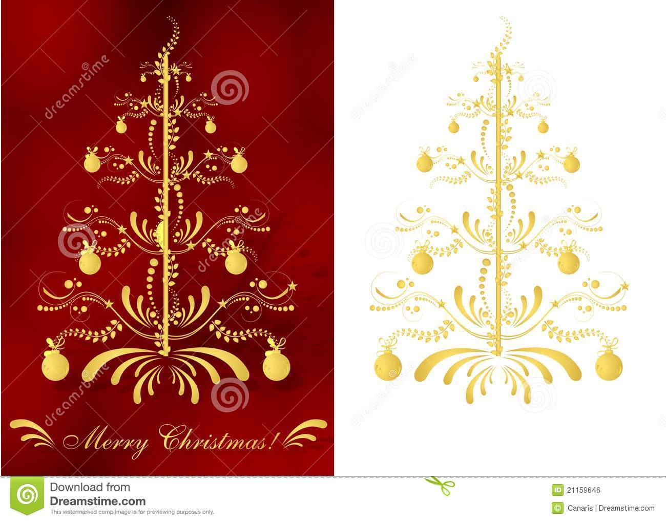 Set of two christmas greeting cards with abstract golden christmas