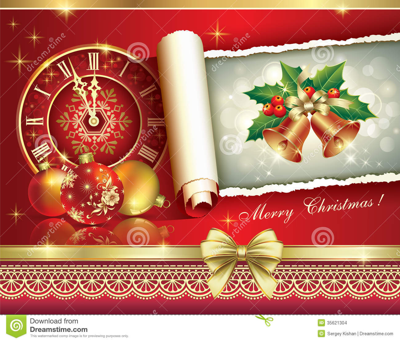 Christmas greeting card 2014 with a clock and ball stock for 2014 christmas decoration
