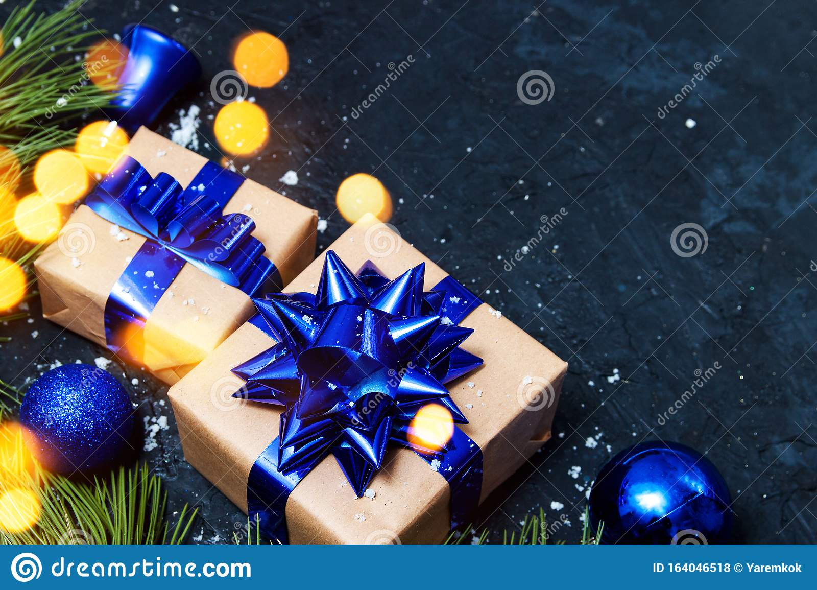 Christmas Greeting Card Composition Gift With Blue Christmas Tree And Balls Decoration With Light On Dark Background Top View Stock Photo Image Of Ornament Decorative 164046518