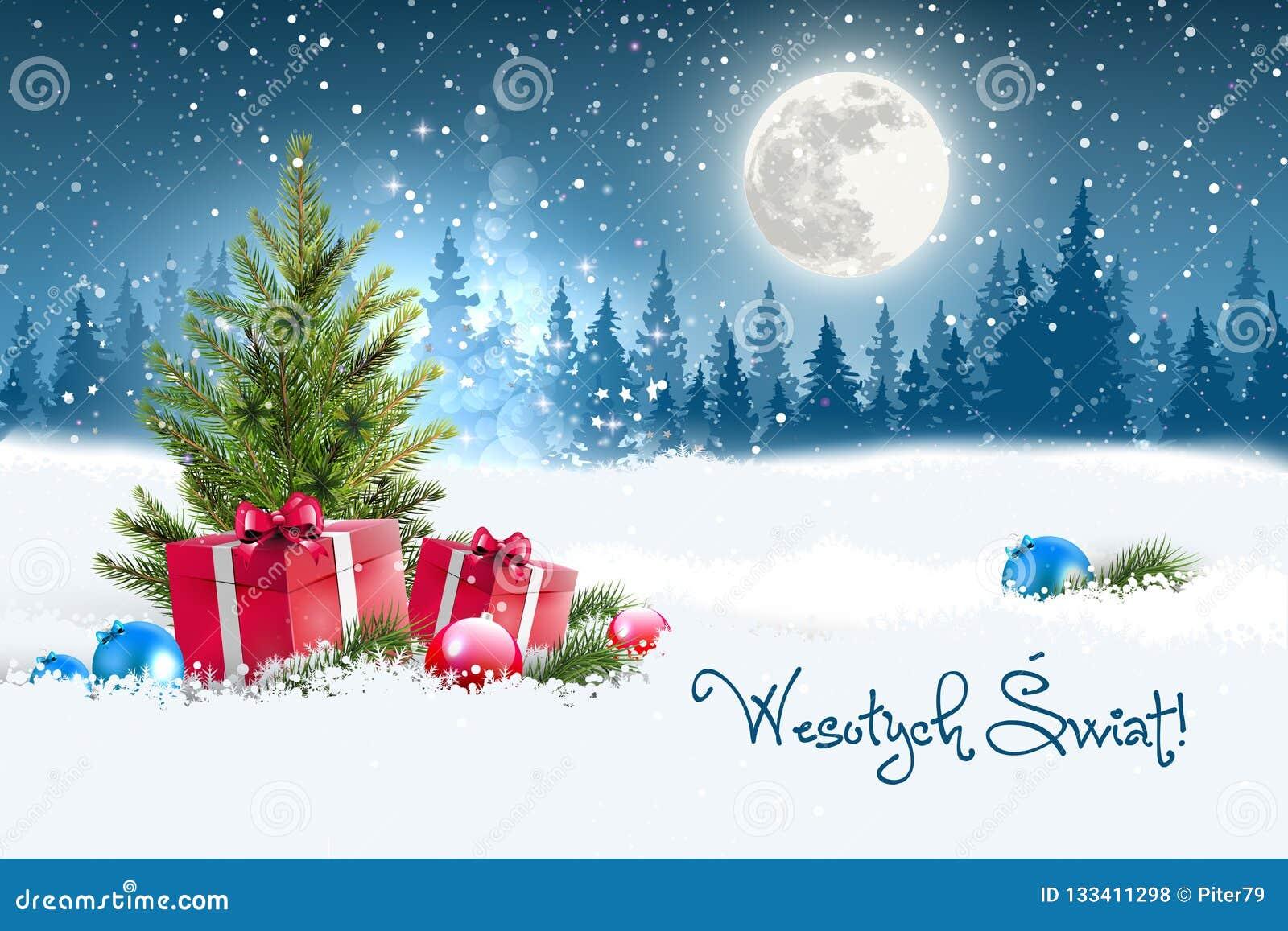 Merry Christmas In Polish.Christmas Greeting Card Concept Merry Christmas In Polish