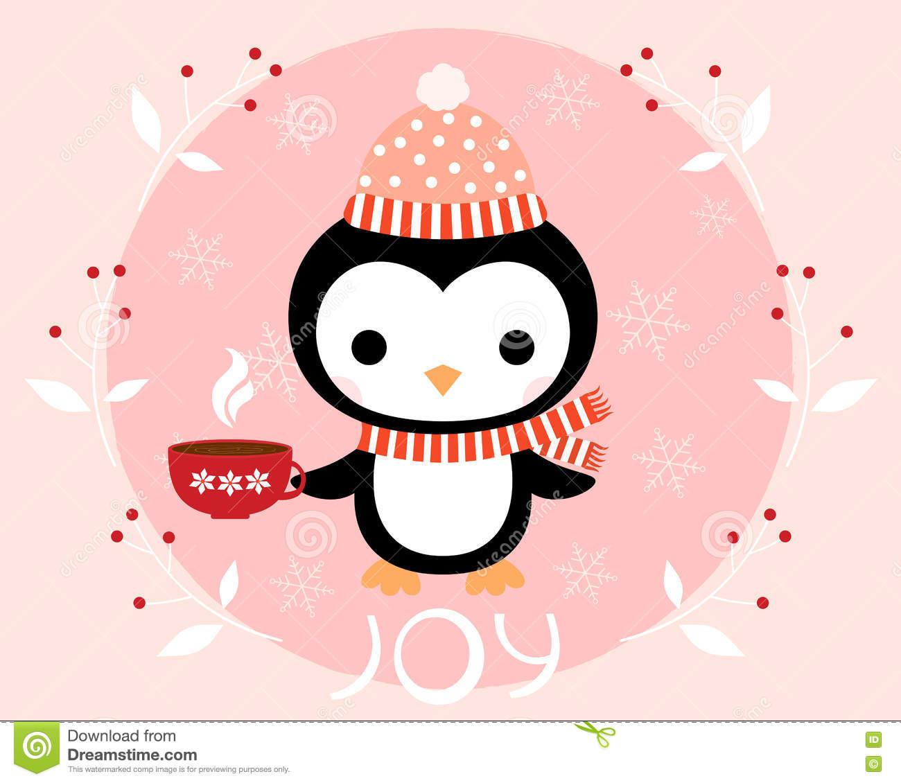 e68bf5d16ebb1 Christmas Greeting Card With Cute Penguin Stock Vector ...