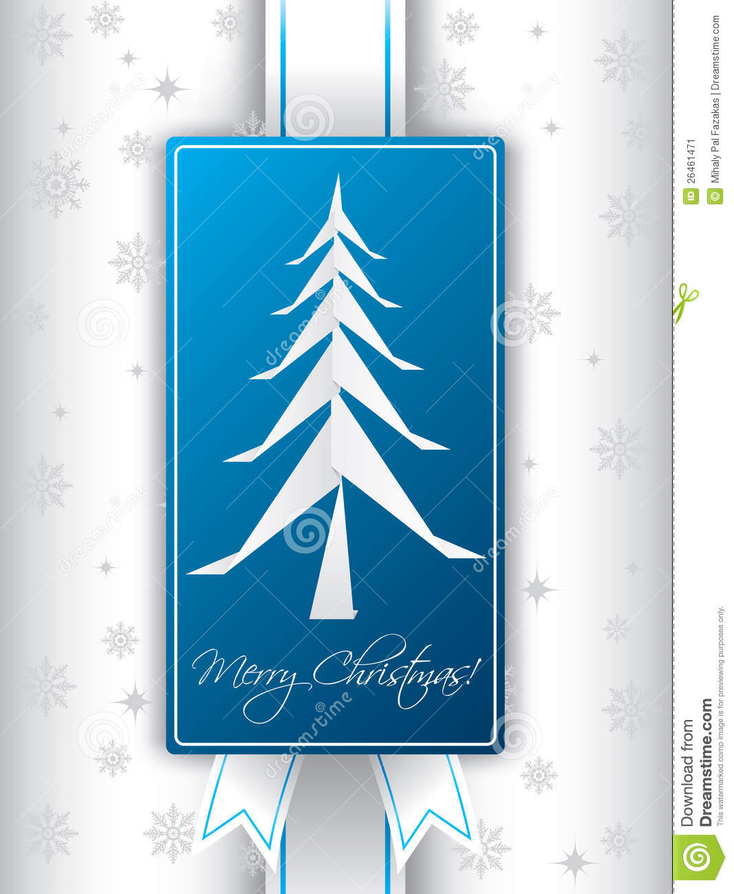 Christmas greeting card design with ribbon and origami christmas tree.: dreamstime.com/stock-image-christmas-greeting-card-design-origami...