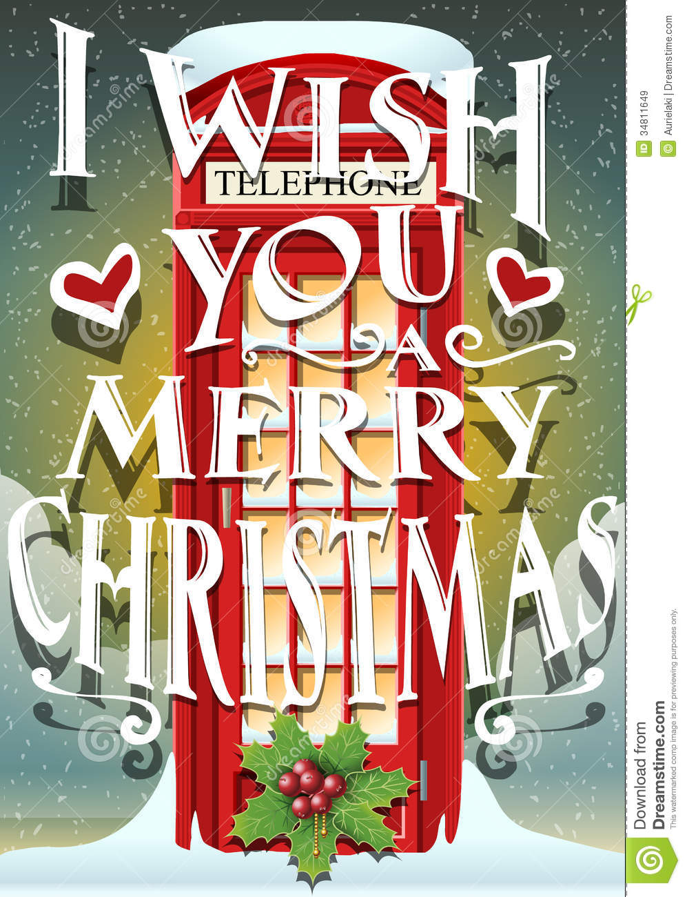 Christmas Greeting Card With English Red Cabin Stock Vector