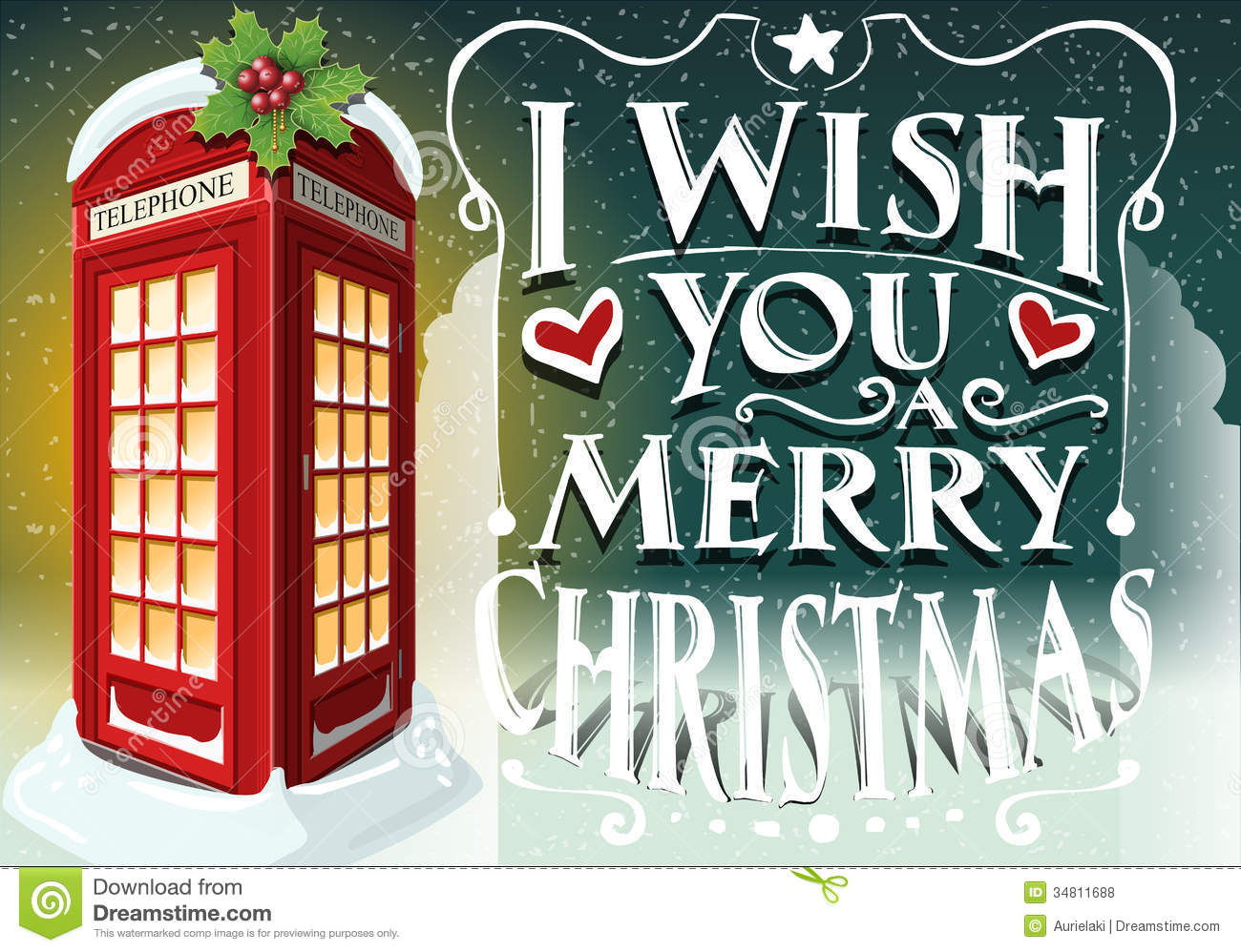 christmas greeting card with english red cabin stock