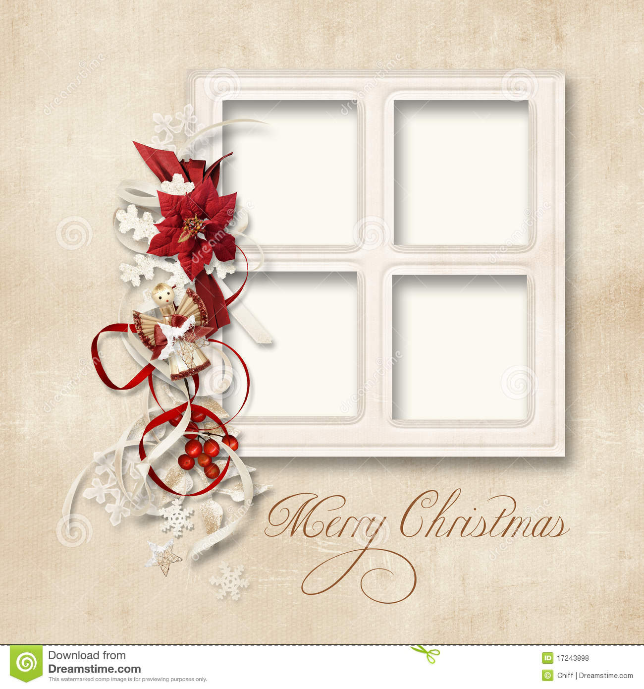 Christmas Greeting Card For A Family Stock Illustration