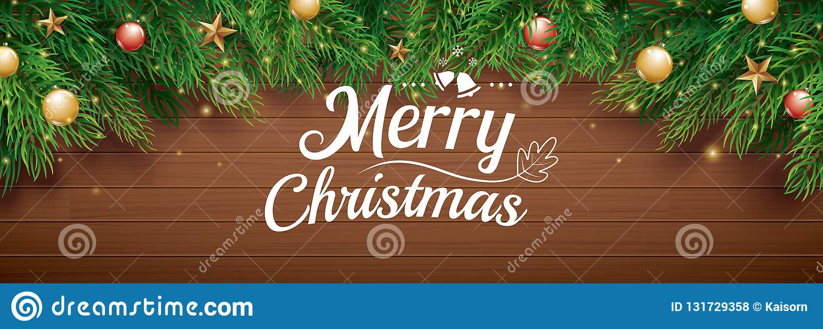 Christmas greeting card with fir tree on wooden background. Xmas and happy new year for banner, cover