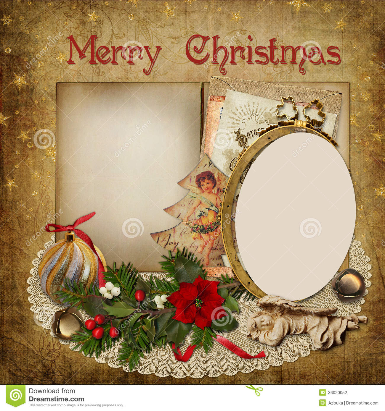 Christmas Greeting Card With Frame, Decoration And Space
