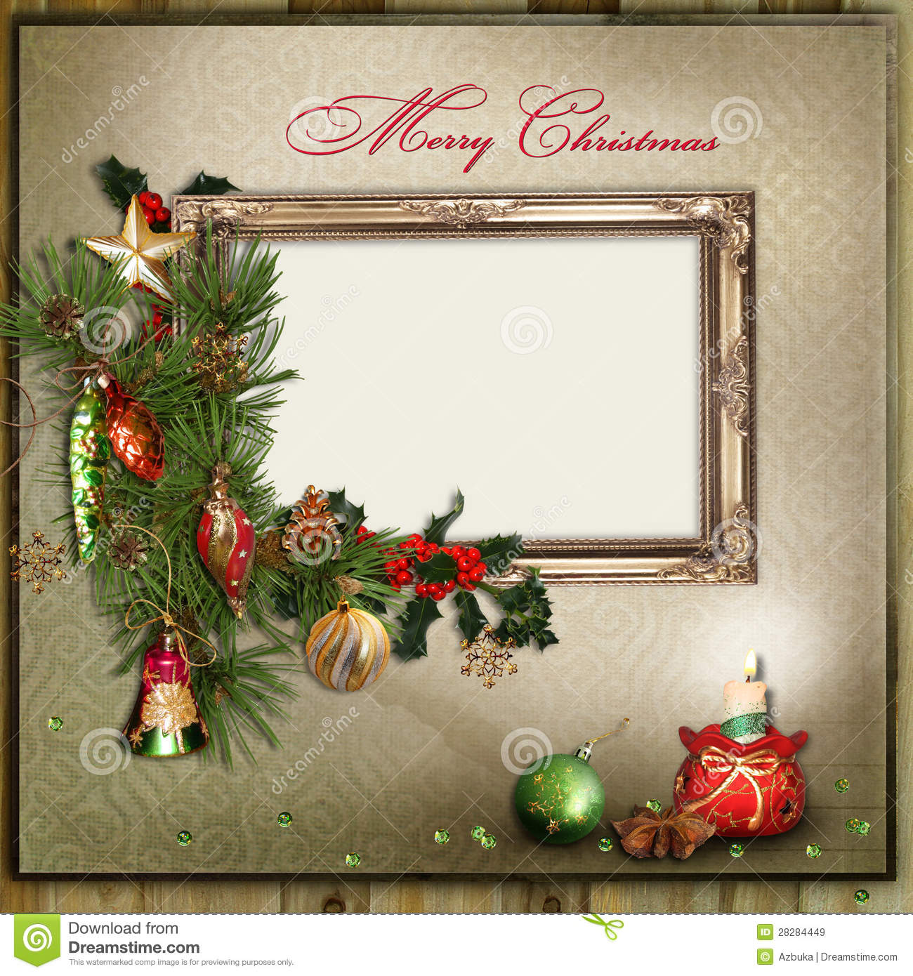 Christmas Greeting Card With Frame For A Family Stock Illustration ...