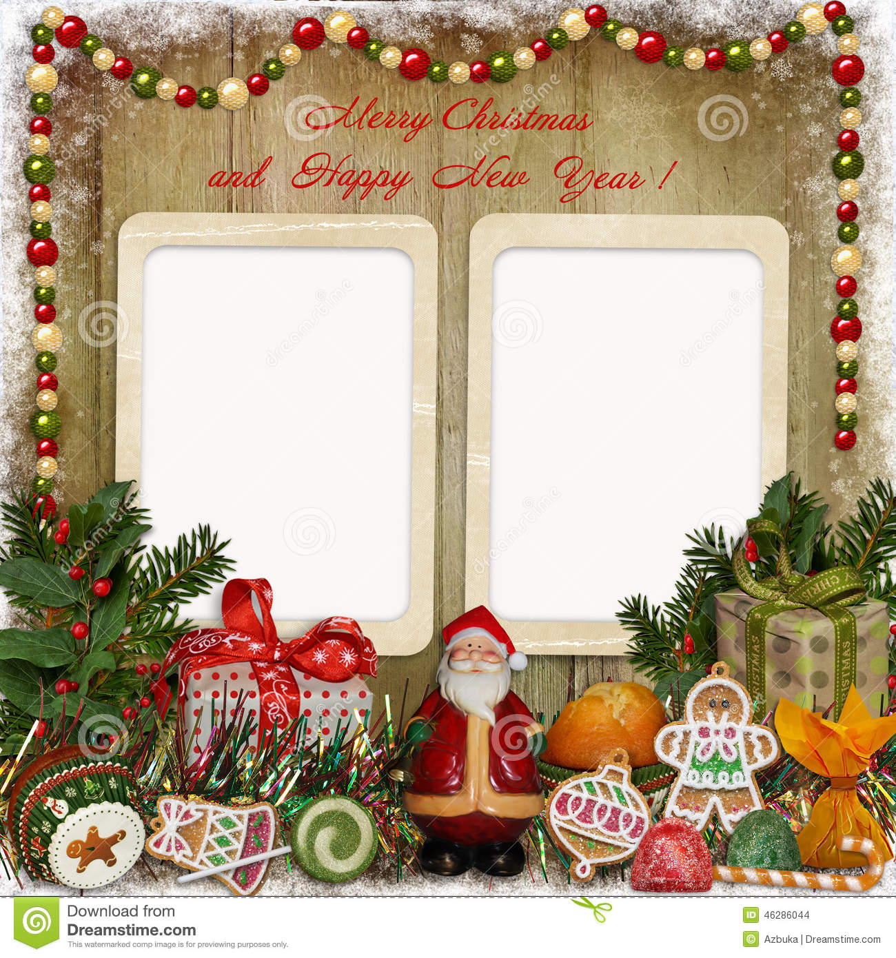 Christmas Greeting Card With Frame Santa Gifts And Candies Stock