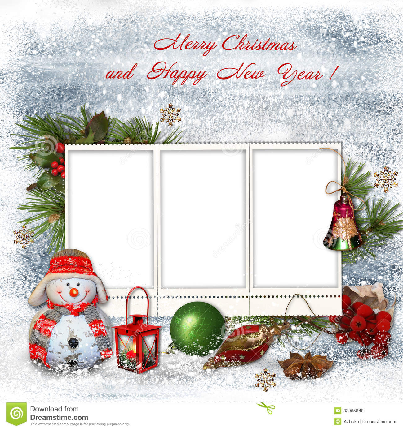 Christmas Greeting Card With Frames For A Family Stock