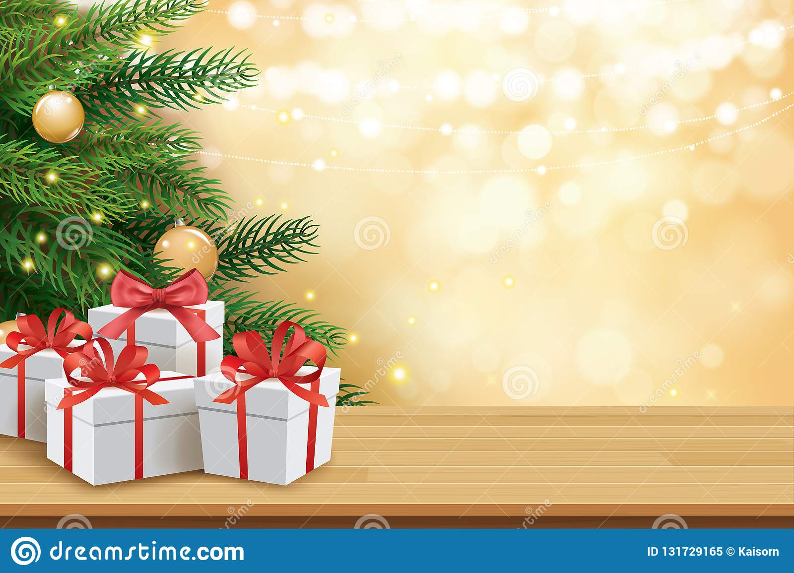 Christmas greeting card with gifts boxes on wooden table and tree bokeh background. Xmas and happy new year