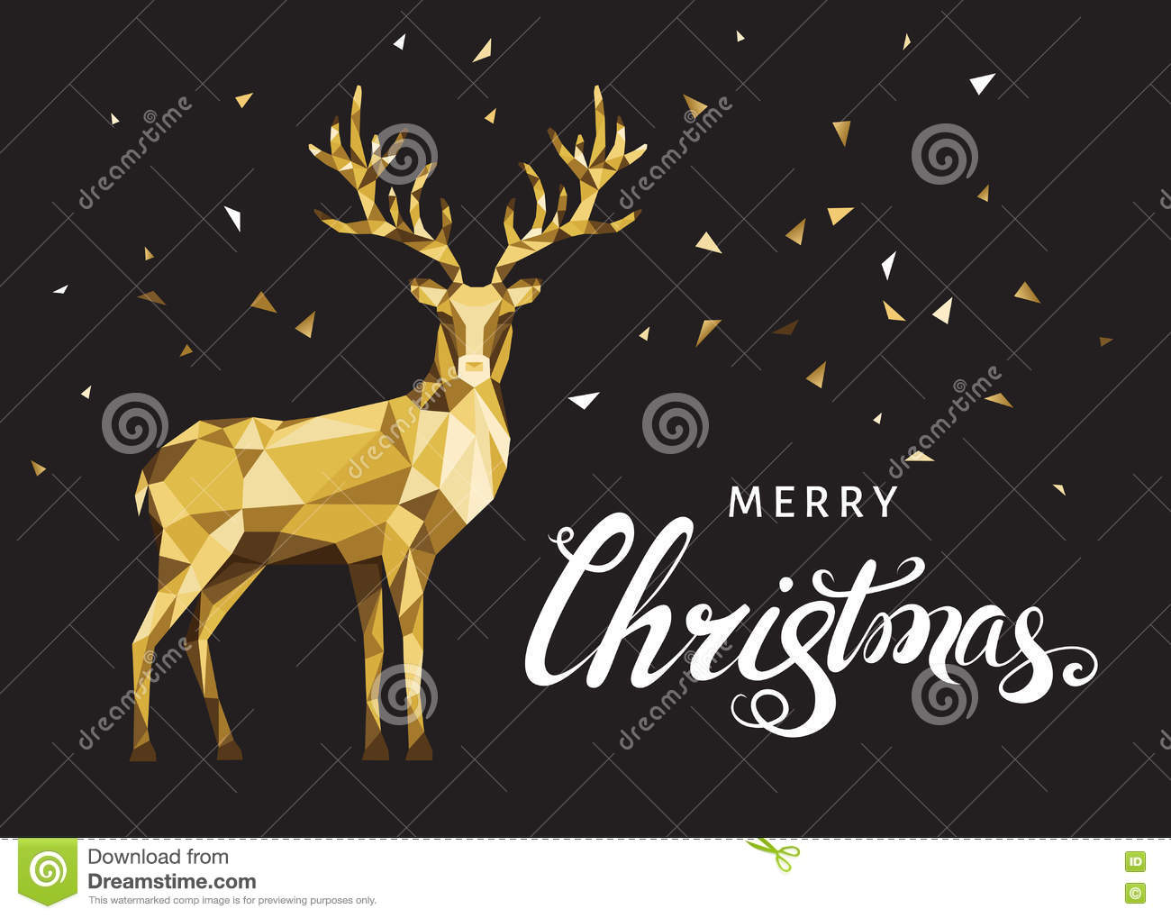 Christmas Greeting Card With Gold Polygonal Deer On Black Back ...