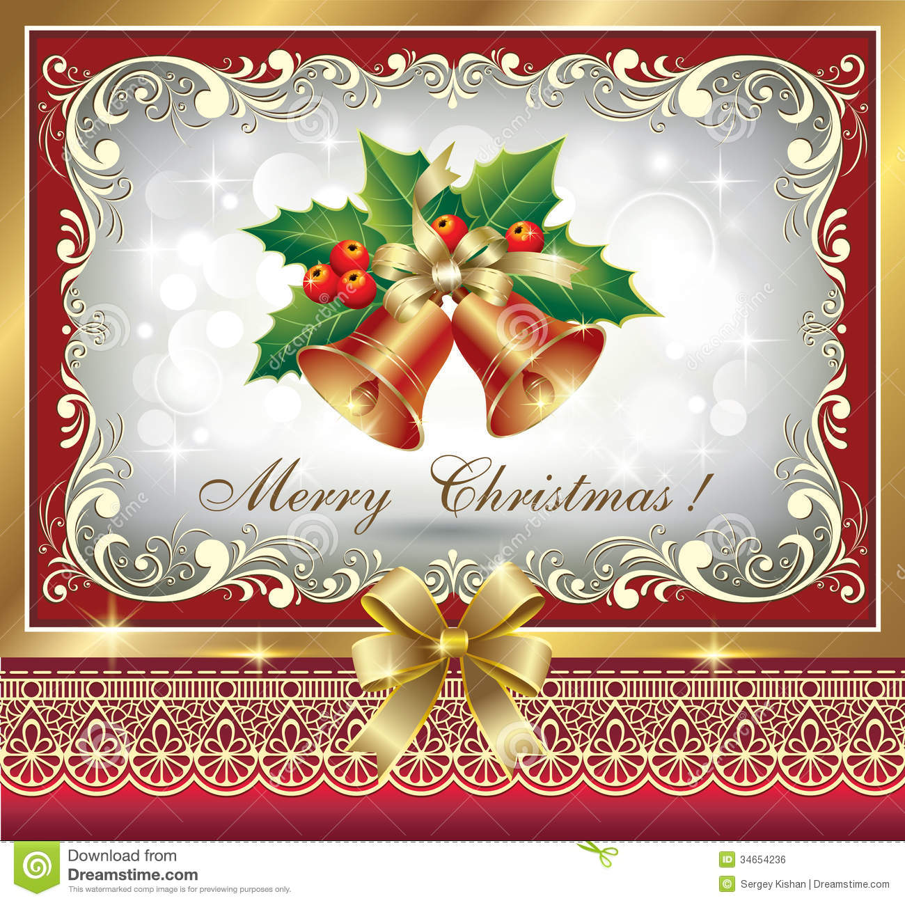 Christmas Greeting Card Stock Vector Illustration Of Glow 34654236