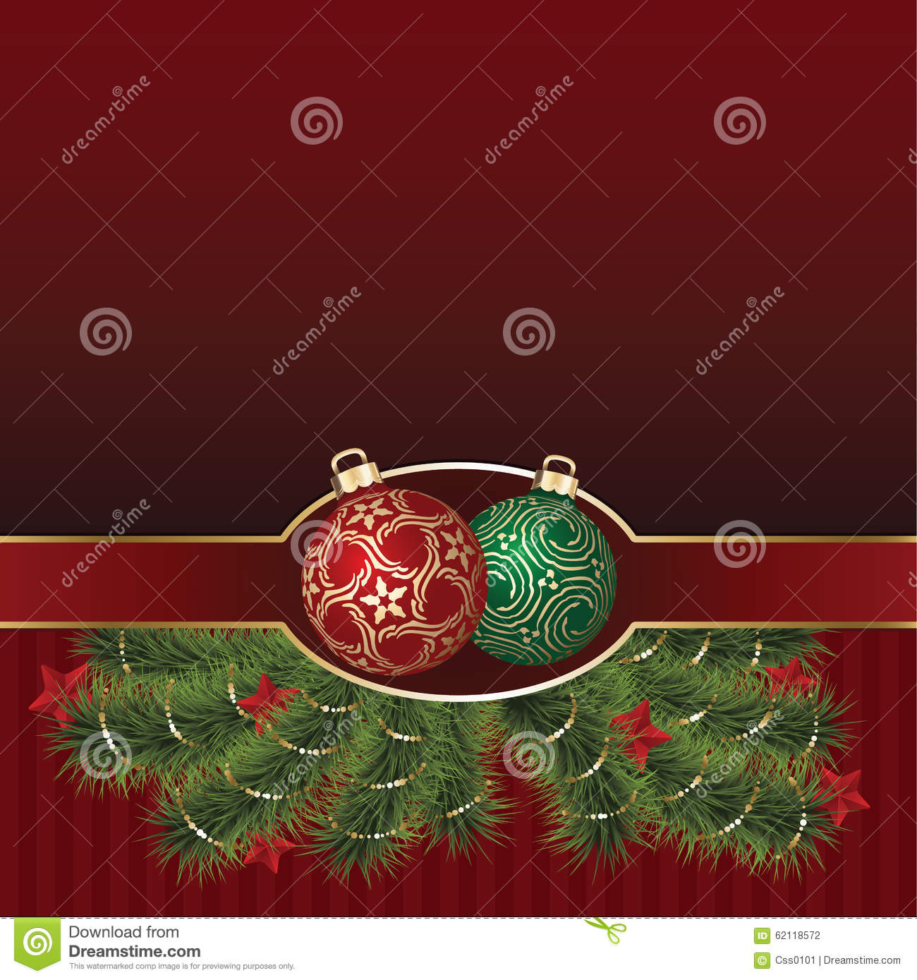 Christmas Greeting Card With Golden Ornament Balls Stock ...