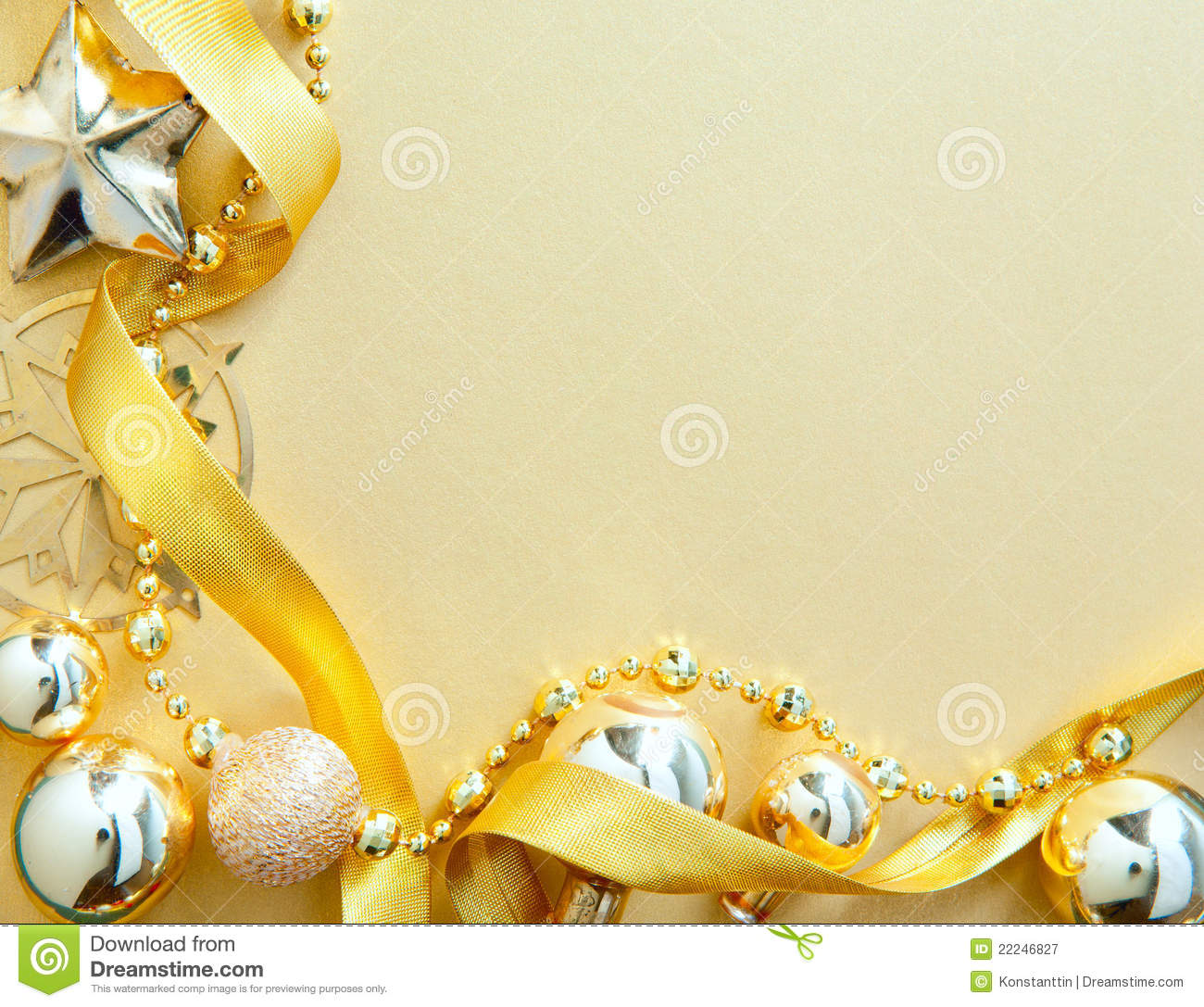 Christmas Greeting Card With Golden Tree Decor Stock Image - Image ...