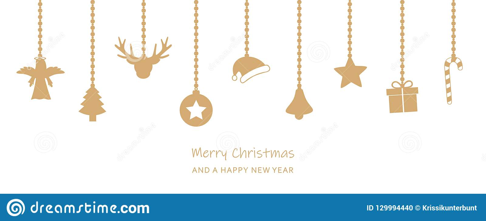 christmas greeting card with hanging decoration on white backgro