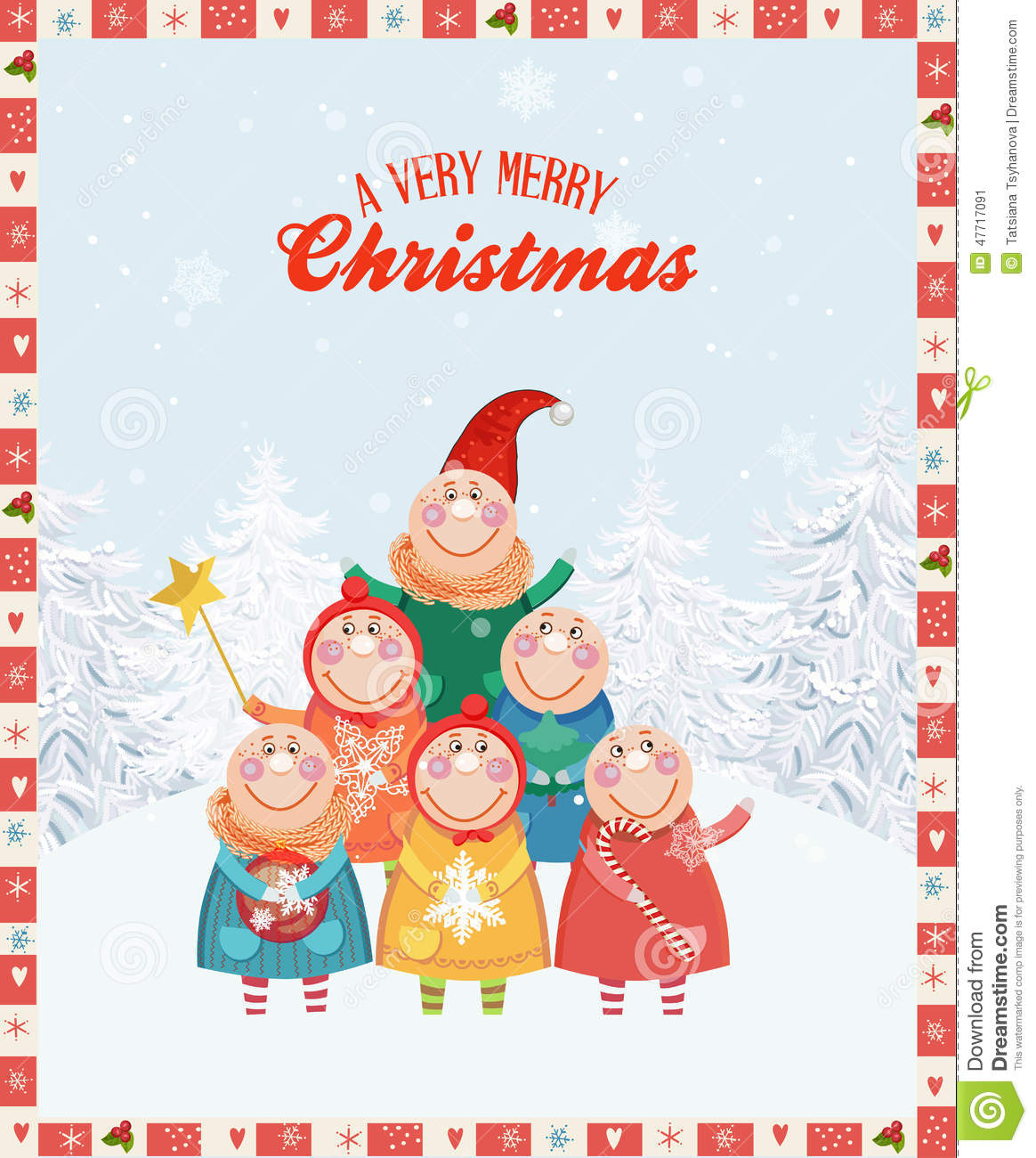 Christmas greeting card with happy children and snowflakes cartoon xmas greeting card happy new year poster m4hsunfo