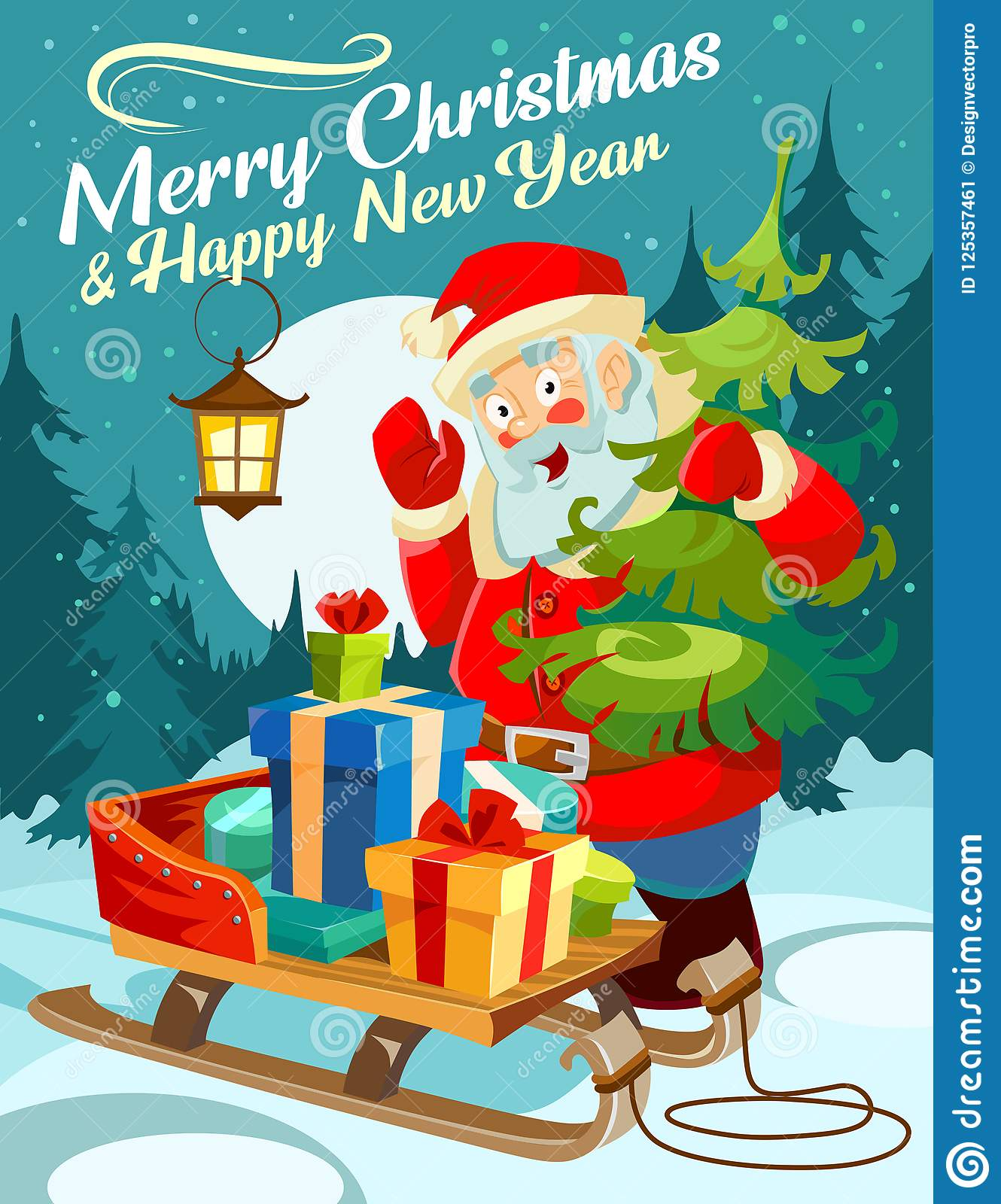 Christmas Greeting Card. Happy New Year Design Concept ...