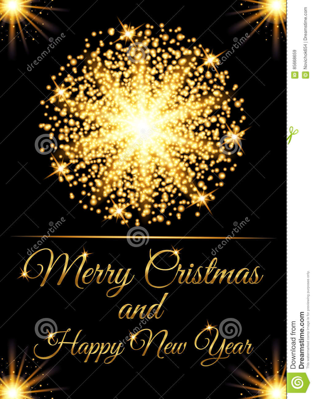 download christmas greeting card and happy new year invitation with glow gold particles stock vector