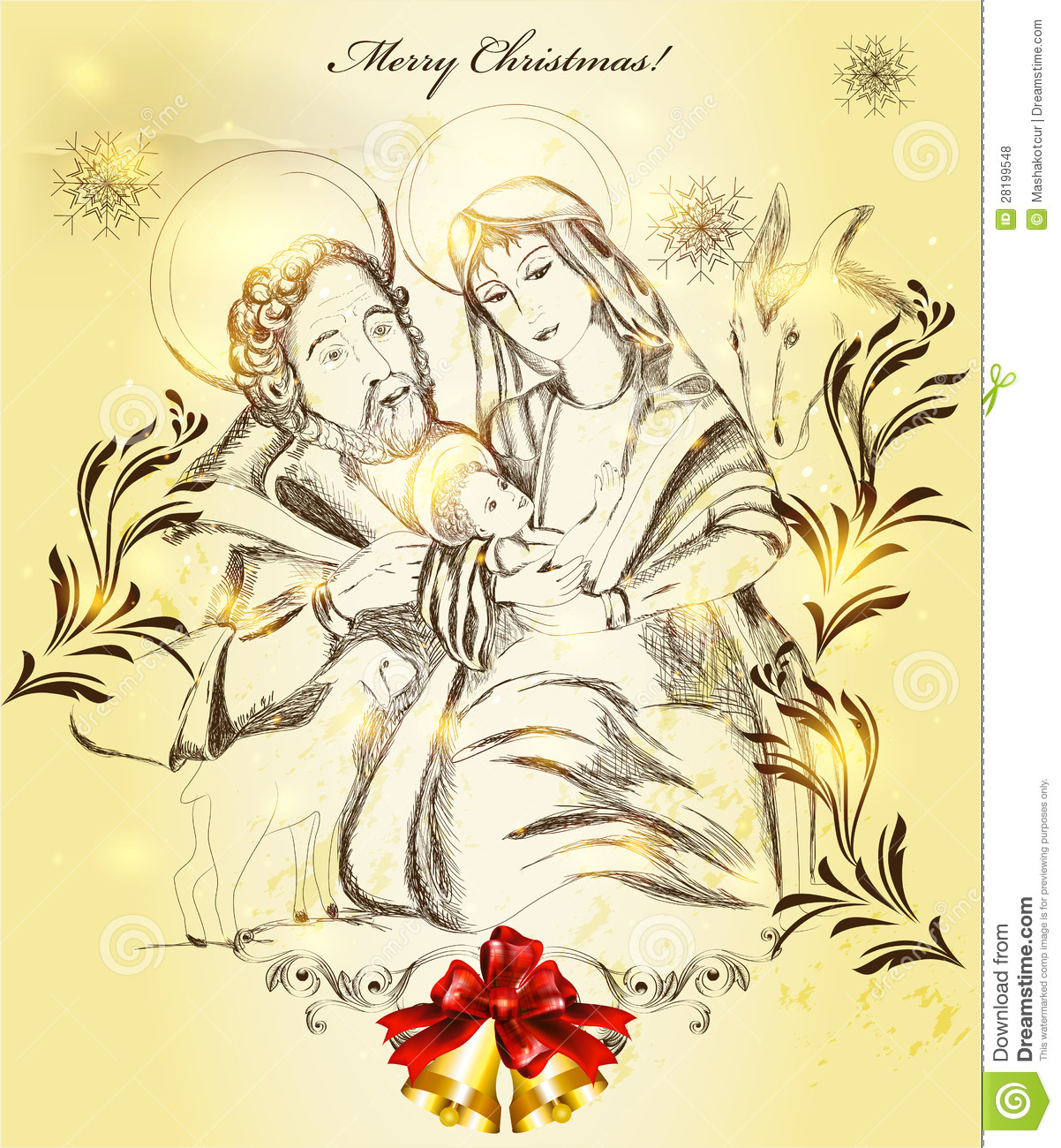 Christmas greeting card with holy family stock vector christmas greeting card with holy family kristyandbryce Image collections