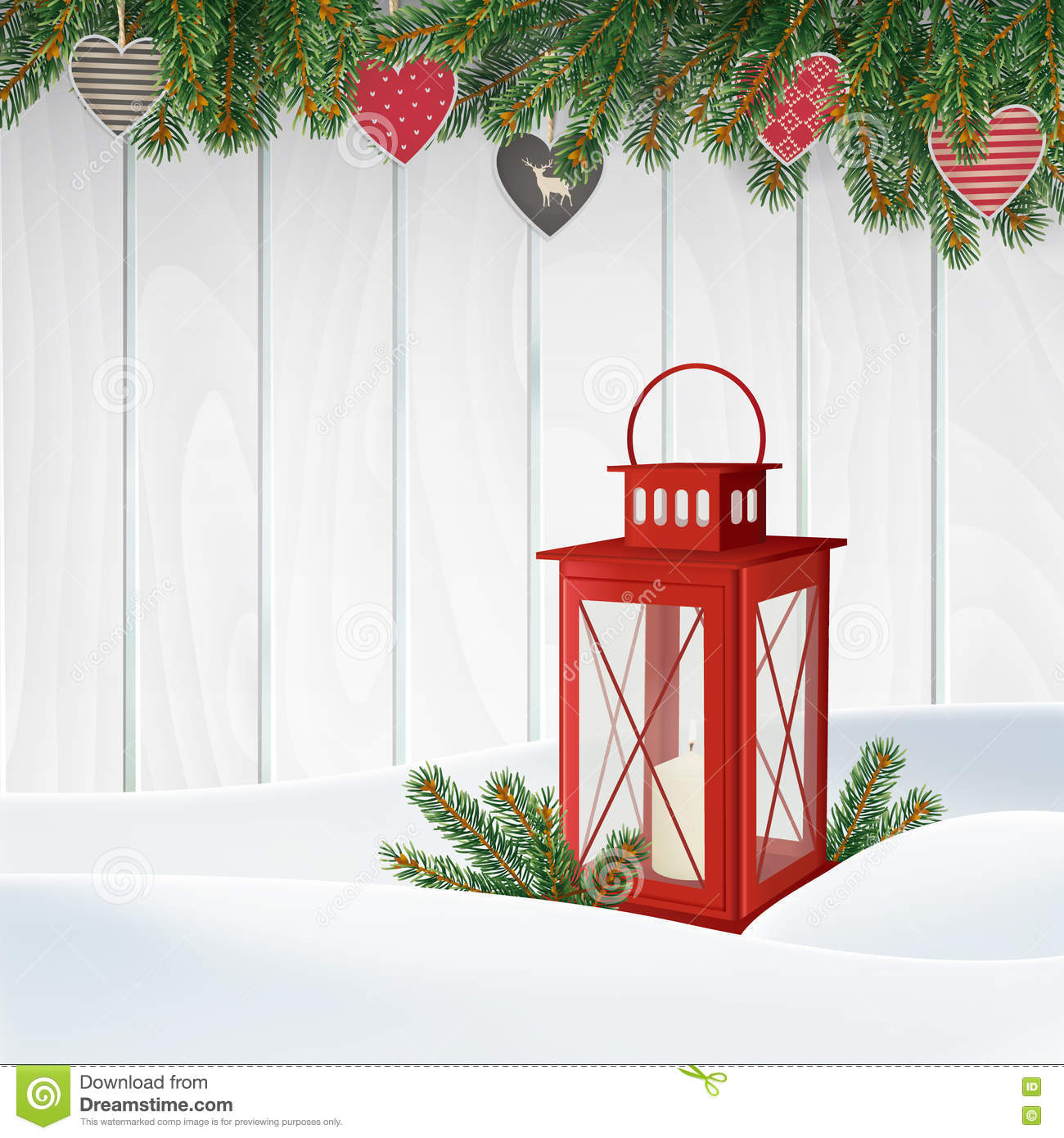 Christmas greeting card, invitation. Winter scene, red lantern with candle, Christmas tree branches, twigs. Wooden background.