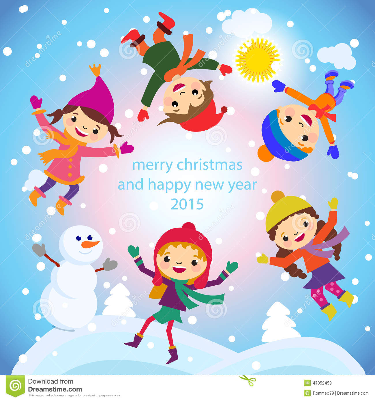 Christmas greeting card kids snow and snowman vector stock vector christmas greeting card kids snow and snowman vector design multicultural m4hsunfo Images