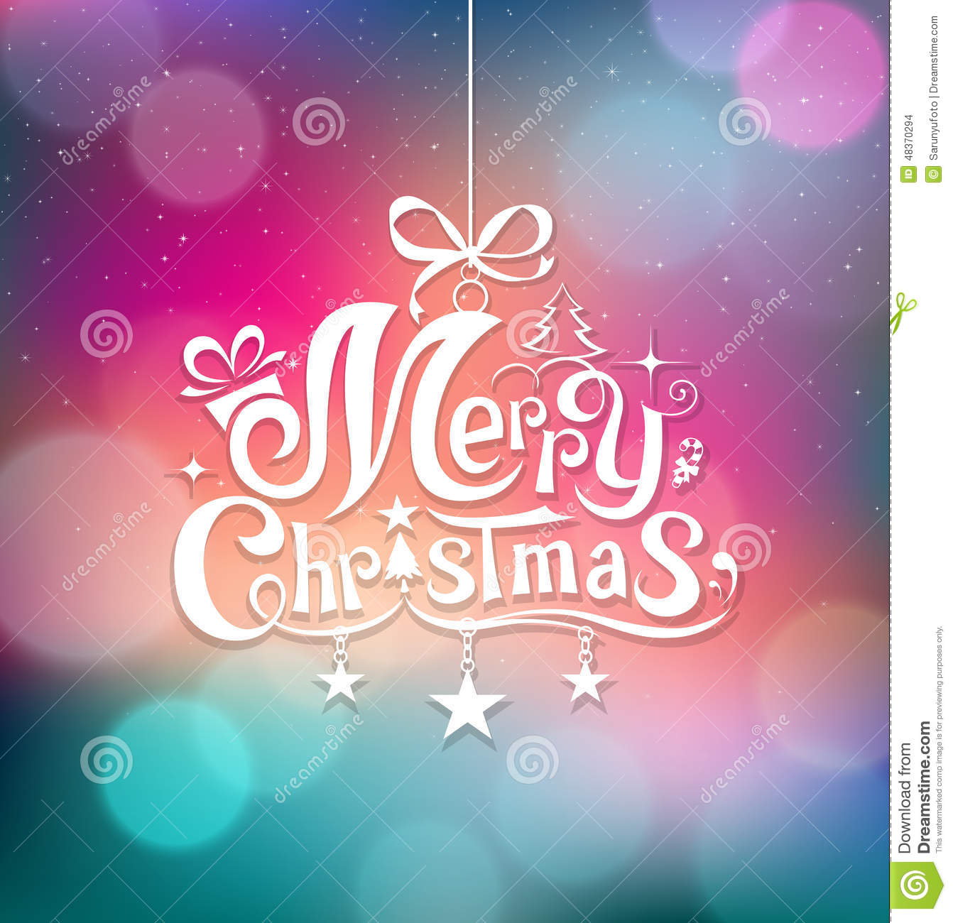 Christmas Greeting Card Lettering Design Stock
