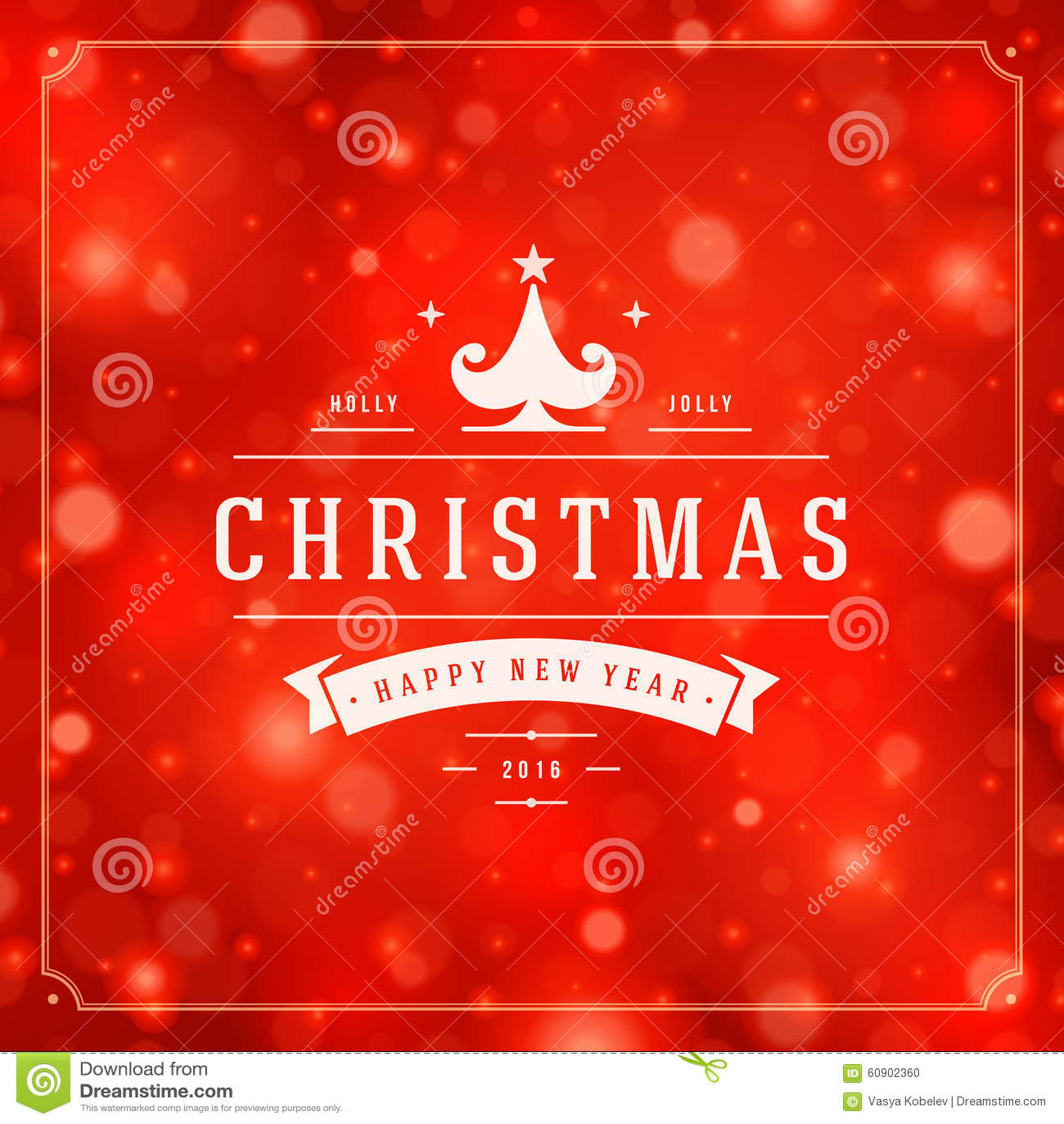 Christmas Greeting Card Lights And Snowflakes Stock Vector