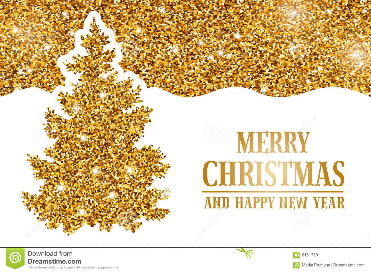 luxury christmas and new year greeting card with golden glitter texture space for your text and gold christmas tree on white background