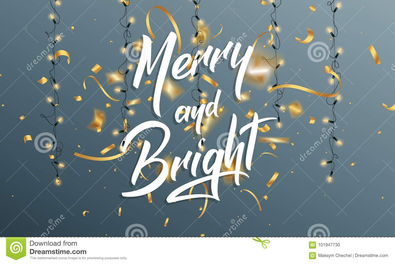 Christmas greeting card with merry and bright quote lettering gold christmas greeting card with merry and bright quote lettering gold confetti and ligts for m4hsunfo
