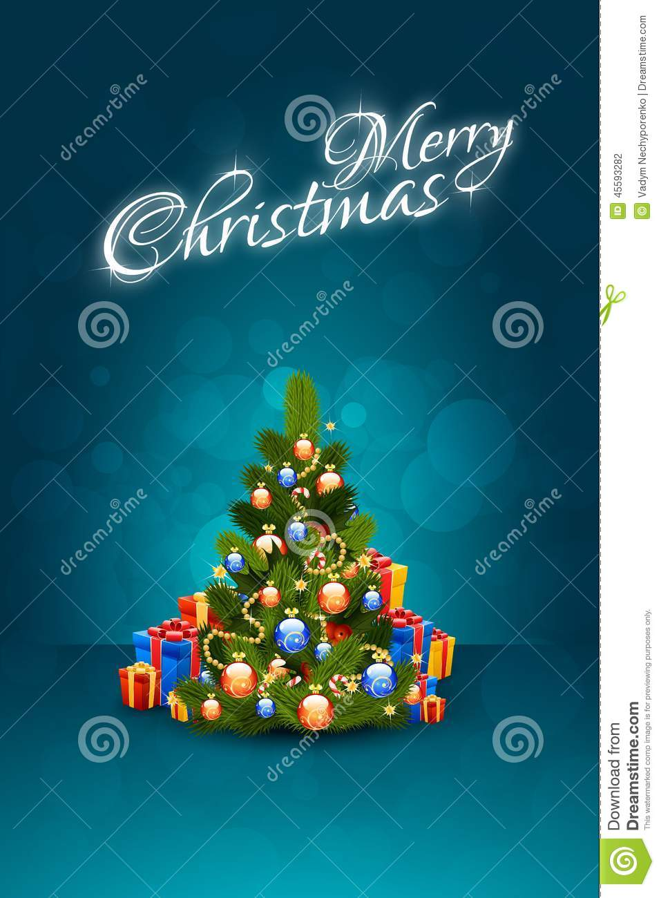 christmas background with a letter or gift card fir and